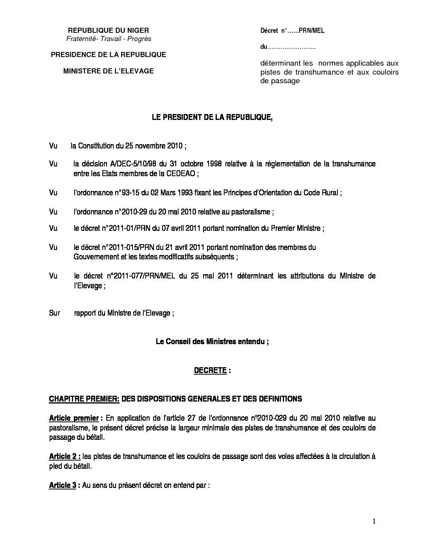 Decret Sur Les Normes Des Pistes Couloir De Passage Csan Niger