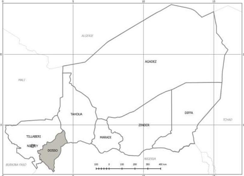 Carte administrative du Niger mettant en exergue la région de Dosso